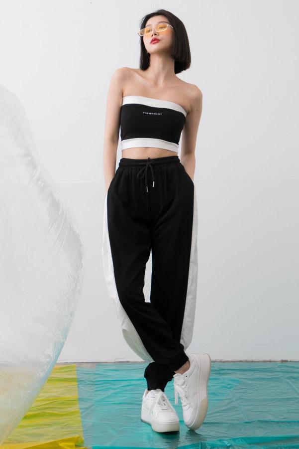 反光字母平口小可愛+長褲黑白撞色套裝