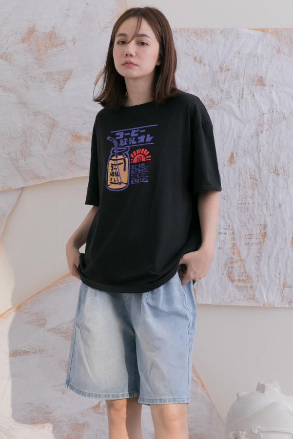 日系風玻璃牛奶瓶圖案寬鬆棉質T恤