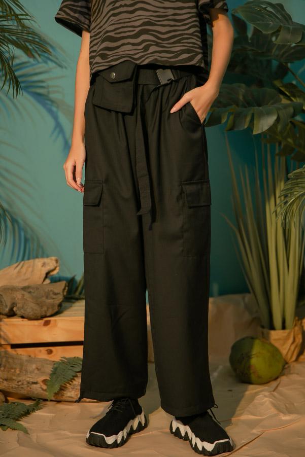 小口袋系扣腰帶暗黑束口工裝褲