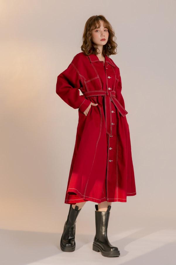 暗紅色車線腰帶超長洋裝風衣外套