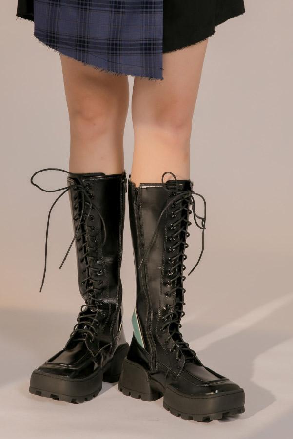 搖滾龐克風方頭厚底綁帶中高筒長靴