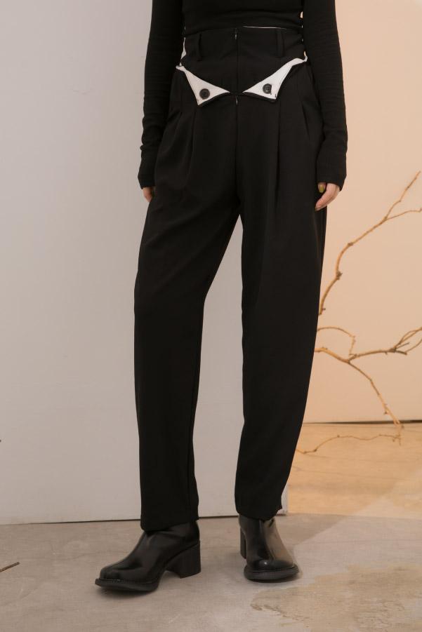 黑白撞色反折設計高腰西裝長褲